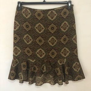LOFT Brown Print Ruffled Hem Wool Skirt